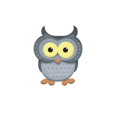 Image of an owl in the cartoon style. Cool picture is great for children's products: clothes, textiles, postcards, stationery products and other things. Vector illustration.