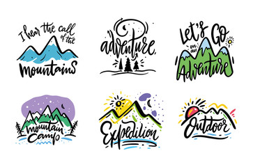 Travel and Adventure phrase hand drawn vector lettering. Black ink. Isolated on white background. Cartoon style.