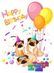 Pug on birthday template