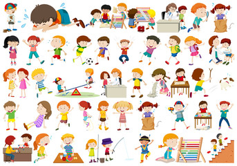 Set of kids character