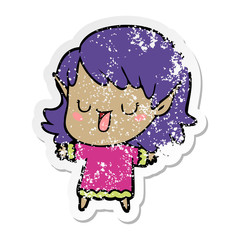distressed sticker of a cartoon elf girl