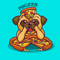 Cute cartoon pug eating italian pizza with mushrooms, sausage, pepper. Funny poster for pizzeria.