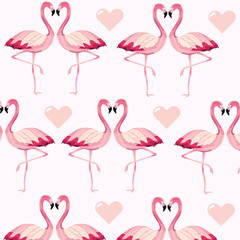 Photo on textile frame Flamingo tropical flamingos animal and heart background