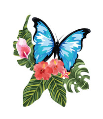 tropical flowers with butterfly and exotic leaves
