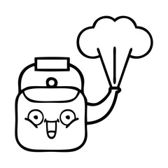 line drawing cartoon steaming kettle