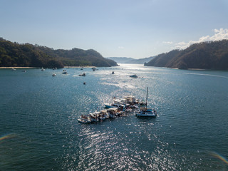 Beautiful aerial view of boats and yachts near the islands of Costa Rica