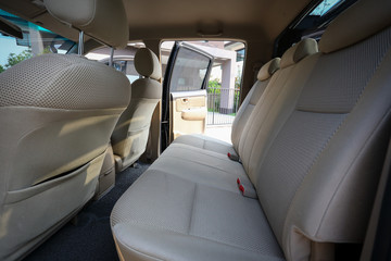 interior back seat of pickup vehicle car four door automobile