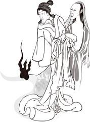 昔ばなしの戯猫又年とへて古寺に怪をなす図 女性とおばけ 白黒