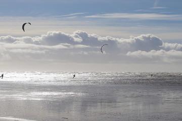 kite surfing on beach