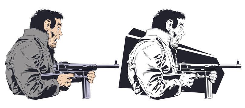 Frightened man with machine gun. Stock illustration.