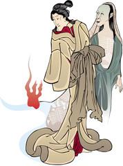 昔ばなしの戯猫又年とへて古寺に怪をなす図 女性とおばけ