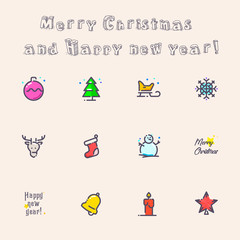 Illustration and icons for the celebration of Christmas and New Year
