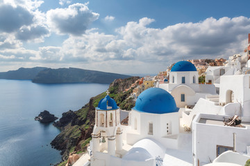 Santorini Island. Blue and white domed churches on Santorini Greek Island, Oia town, Santorini, Greece.