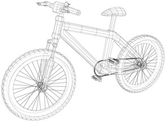 Bicycle blueprint. Outline bicycle on white background. Created illustration of 3d