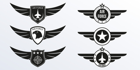 Air Force logo with wings, shields and stars. Military badges. Army patches. Vector illustration.