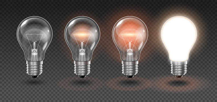 Four  transparent light bulbs, one of which is off, while the others are lit with different brightness on a light background. Highly realistic illustration.