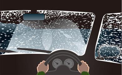 吹雪の天候でヘッドライトをハイビームにして運転