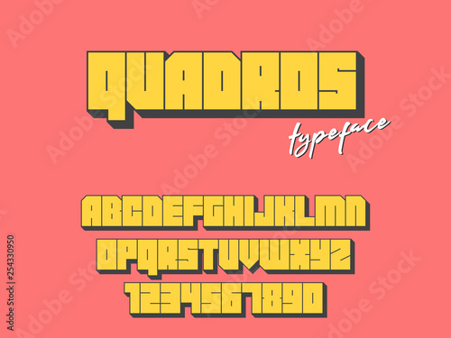 Vector square block font  Latin alphabet letters and numbers