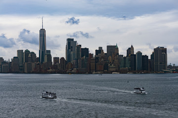 November 2018 - Skyline of Manhattan, New York City, view from Liberty Island, ferry boat on the ocean