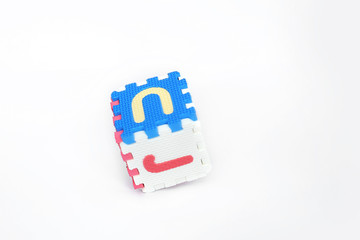 Picture of block forming cube with alphabets. Isolated on the white background.