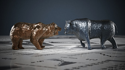 Bear and bull figures on economy newspaper pages. 3D illustration