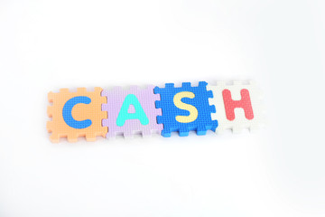 Cash english alphabet made the word. Isolated on the white background.