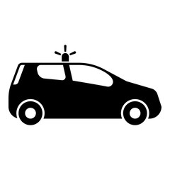 Security car Police car Car with siren icon black color vector illustration flat style image