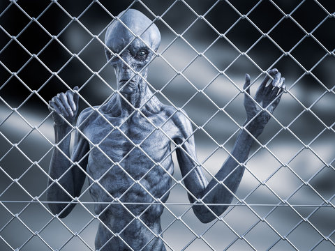 3D rendering of an alien creature captive behind a fence.