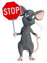 3D rendering of a cartoon mouse holding stop sign.