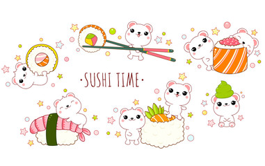 Cute polar bears with japanese sushi and rolls