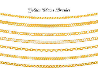 Golden chains brushes. Gold metal chain borders isolated on white background, vector necklace chains seamless patterns