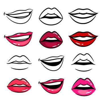 Colorful and line female lips vector set on white background
