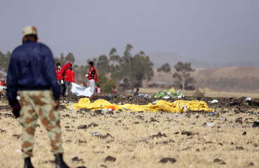 Members of the search and rescue mission look for dead bodies of passengers at the scene of the Ethiopian Airlines Flight ET 302 plane crash, near the town of Bishoftu, southeast of Addis Ababa