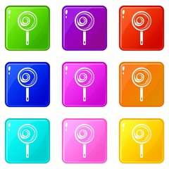 Lollipop icons set 9 color collection isolated on white for any design