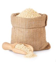 sesame seeds in burlap sack