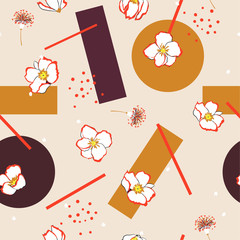 Flower mixed with geometric seamless pattern design oriental mood design for fashion , fabric, wallpaper and all prints