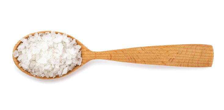 sea salt in wooden spoon