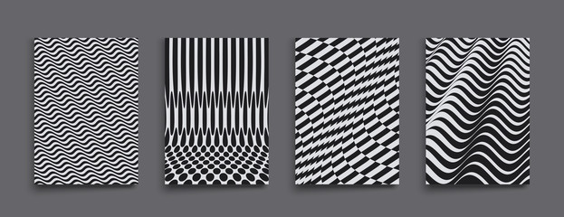 Cover design template. Black and white design. Pattern with optical illusion. Abstract 3D geometrical background. Vector illustration. Wall mural