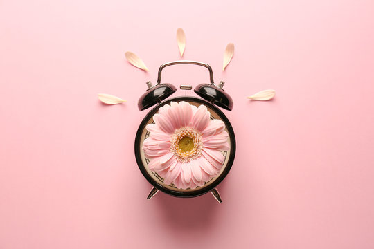 Alarm clock with flower on color background