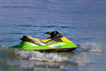 Autocollant pour porte Nautique motorise Tourists enjoy driving jetski on the ocean, Space for text. Hot summer time