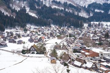 Wall Mural - Aerial view of Historic Villages Shirakawago in Gifu, Japan