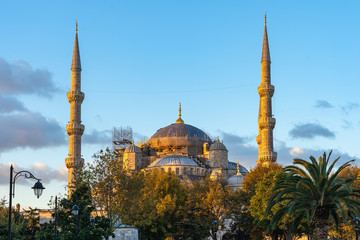Sunrise in Istanbul with view of Blue Mosque in Turkey