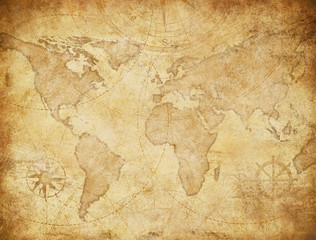 Wall Mural - Vintage style world map illustration based on image furnished by NASA