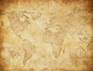 Vintage style world map illustration based on image furnished by NASA