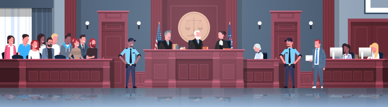 law process with judge jury suspect and police officers lawyer or attorney giving a speech court session modern courthouse courtroom interior full length horizontal banner