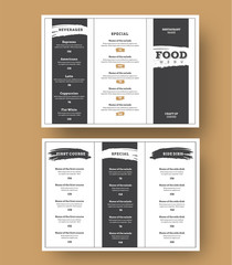 White menu template with black grunge elements for cafes and restaurants.