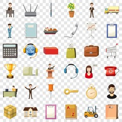 Businessman icons set. Cartoon style of 36 businessman vector icons for web for any design