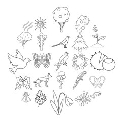 Nature icons set. Outline set of 25 nature vector icons for web isolated on white background