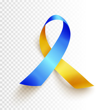World Down Syndrome day. March 21. Realistic blue yellow ribbon symbol over transparent background. Vector.
