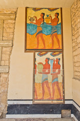 Architectural and artictic details from 3500 years ago at the palace of Knossos, near Heraklion harbor, island of Crete, Greece